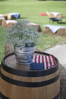 american flag barrel and flowers