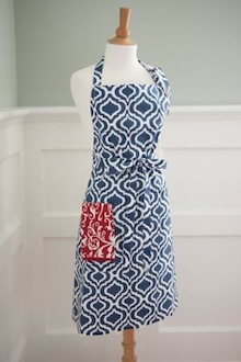 red white and blue cooking apron