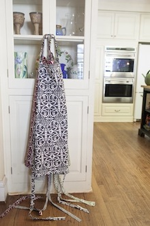 cooks apron hanging grey and white oatterened