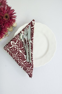 dinner napkin white and red pattern
