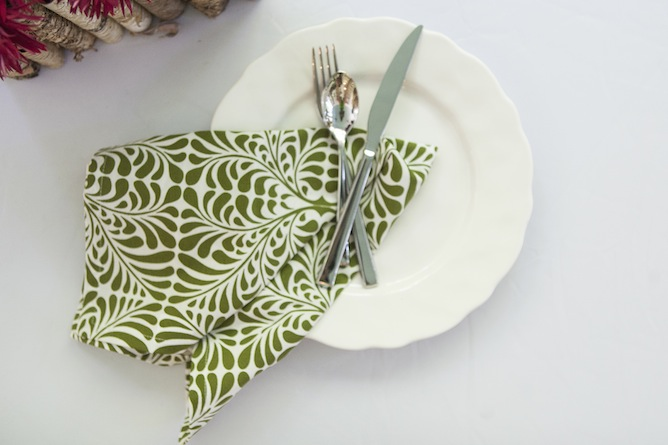 green and white dinner napkin