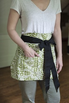 green and white patterened hostess apron