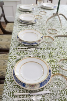 green and white patterened table cloth square