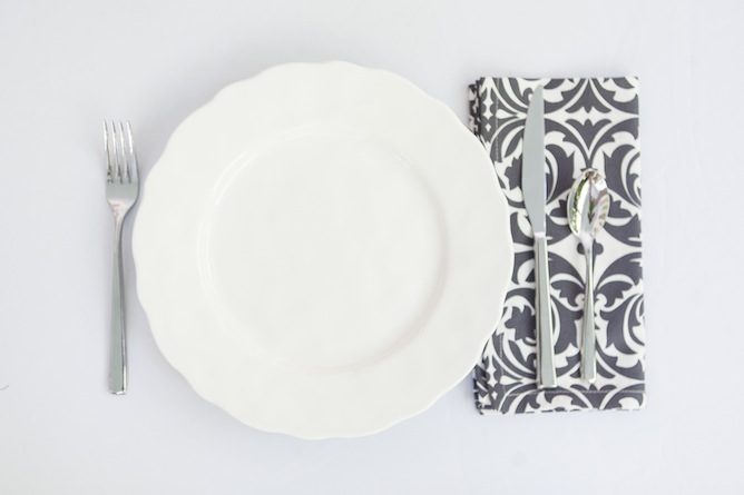 grey and white dinner napkin patterened