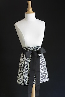 grey and white hostess apron