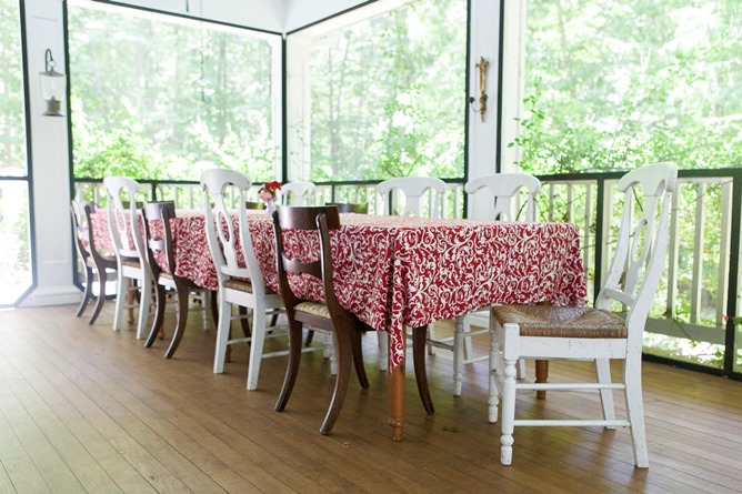 Red and white cotton tablecloth