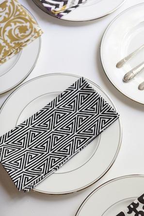black and white dinner napkin