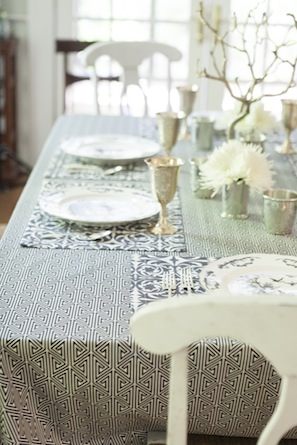 black and white table cloth long