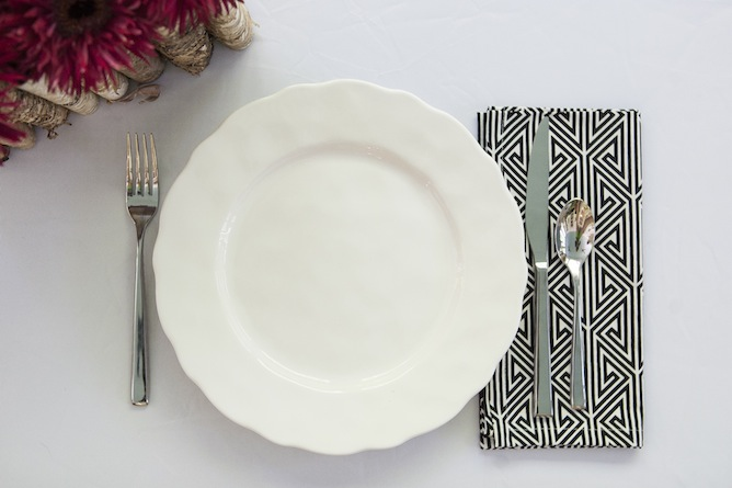dinner napkin black and white patterened