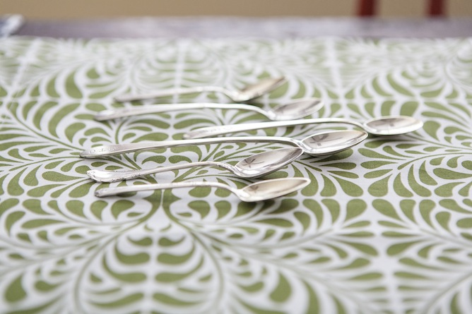 green and white patterened table linens