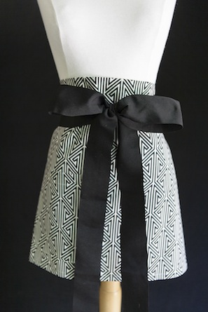 hostess black tie apron black and white patterened fabric