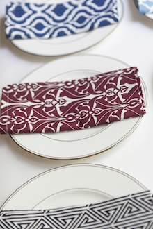 red and white dinner napkin patterened