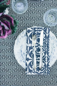 black and white cotton table linens