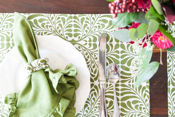 fern green dinner napkin cotton