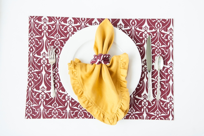 gold cotton dinner napkin claret and white cotton placemat