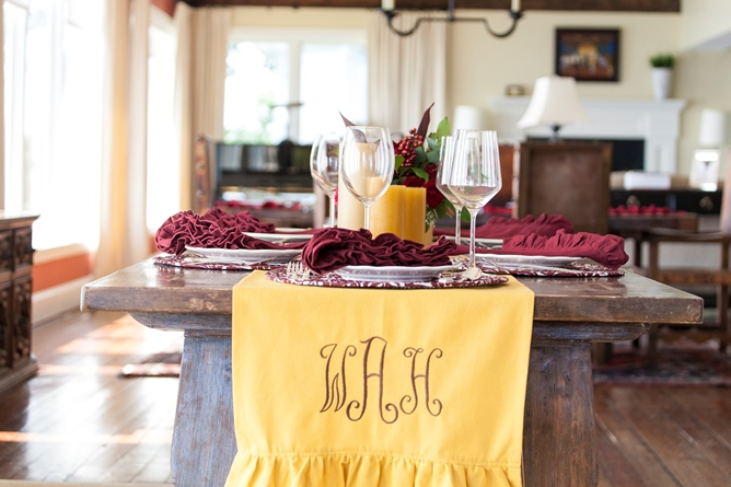 gold cotton solid ruffle table runner