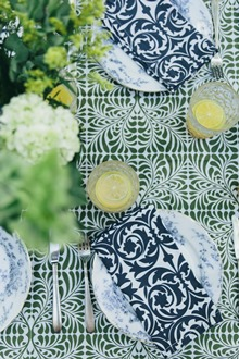 green and white cotton dinner napkins