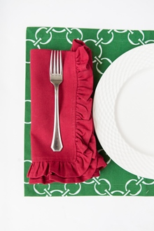 red cotton ruffle dinner napkin green and white cotton placemat