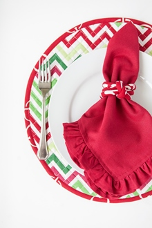 red solid ruffle cotton dinner napkin chevron holiday placemat