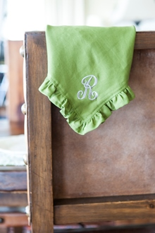 soft green cotton ruffle dinner napkin