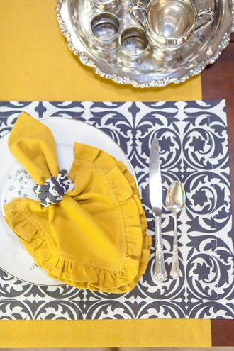 Gold napkin on Graphite Gray placemat