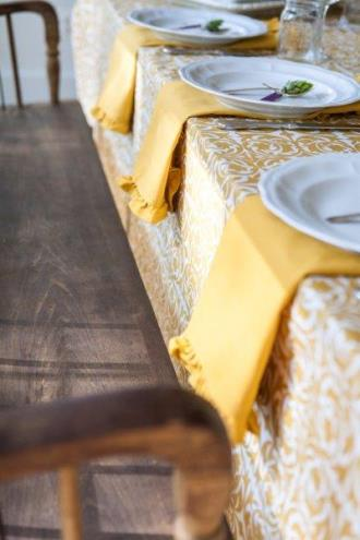 gold cotton table linens