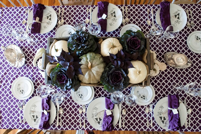 purple and white cotton tablecloth