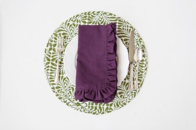 purple solid cotton table linens