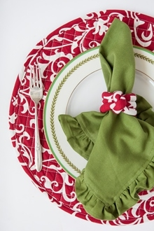 green cotton solid ruffle dinner napkin red and white charger