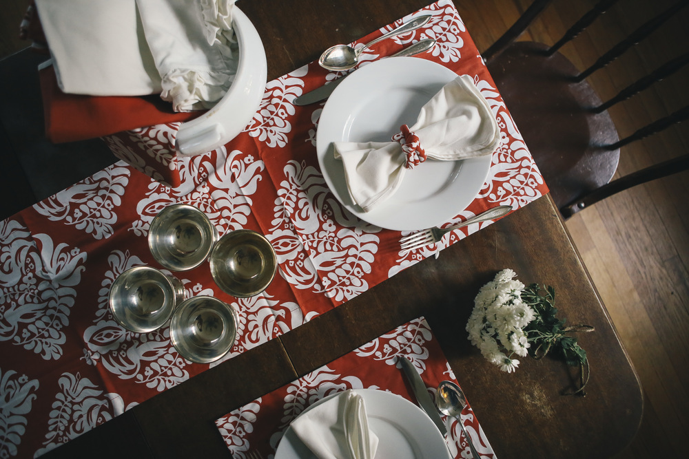 Place setting and centerpiece. Double duty.