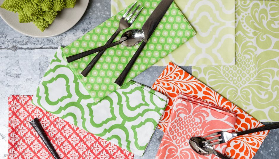 orange green print cotton washable cloth dinner napkins.jpg