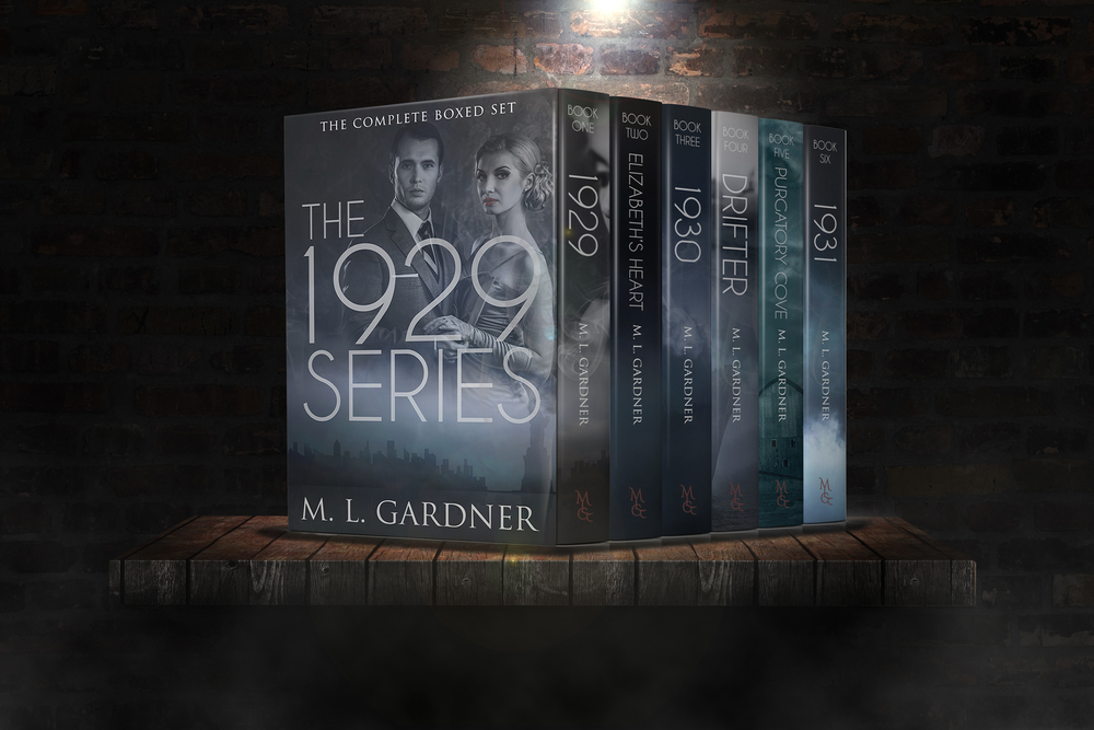 3-D Boxed Set for M.L. Gardner's The 1929 Series || Designed by TheThatchery.com