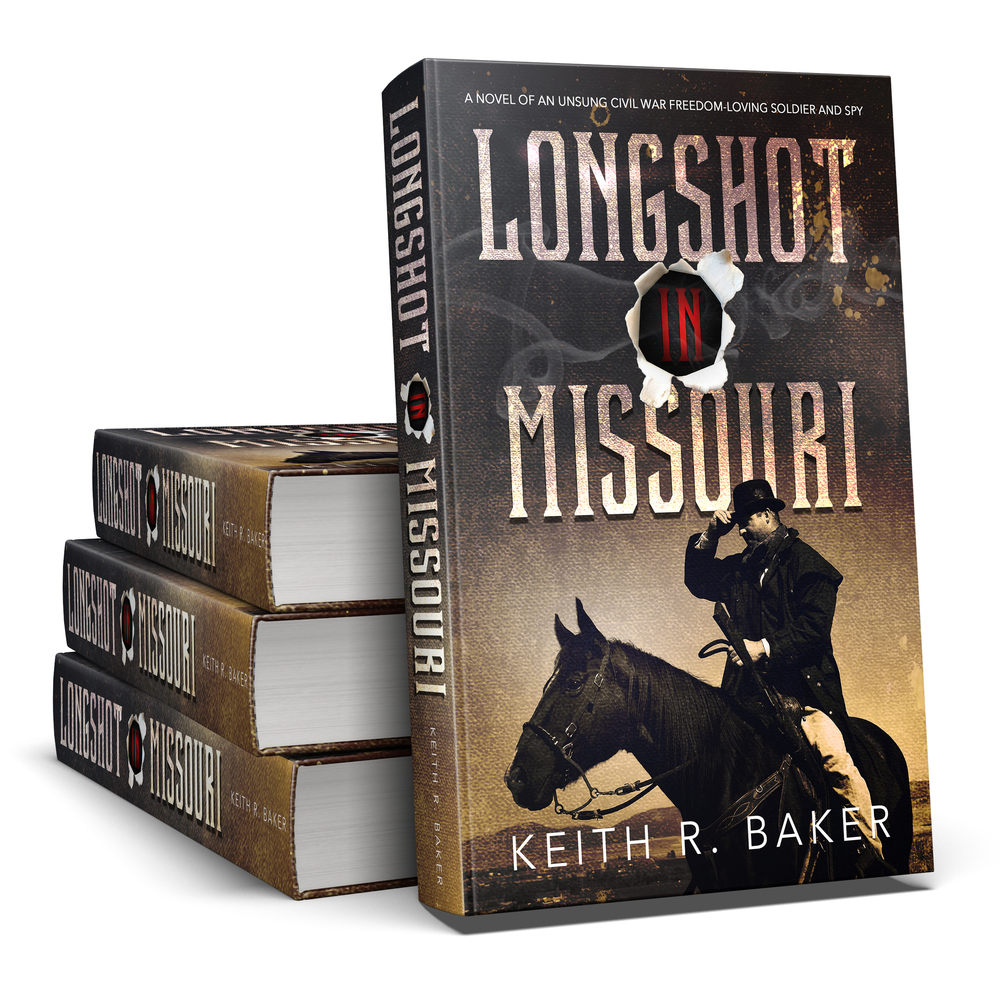3-D Hardback Book Cover for Keith R. Baker's Longshot in Missouri || Designed by TheThatchery.com