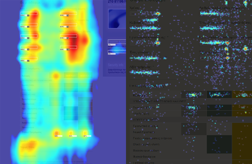 An example of a mouse-movement (left) and click-heatmap (right). Exciting, right?