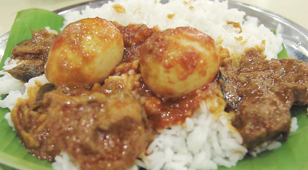 Comida hindú en Little India.