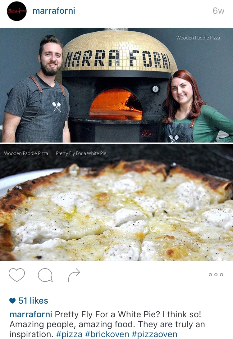 Jonathan and Brianna Cowan making a Pretty Fly For a White Pie in a beautiful Marra Forni wood burning oven. January 2016