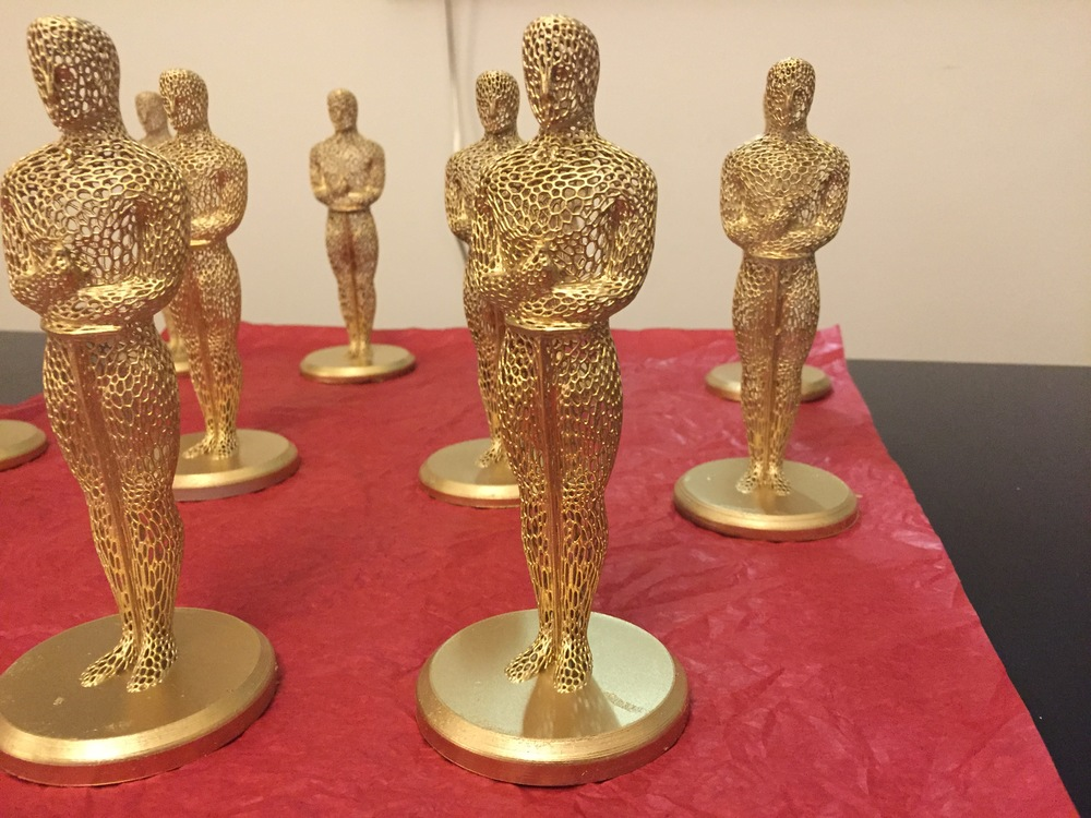 A few of the Oscar statues I printed for our annual watch party this year.