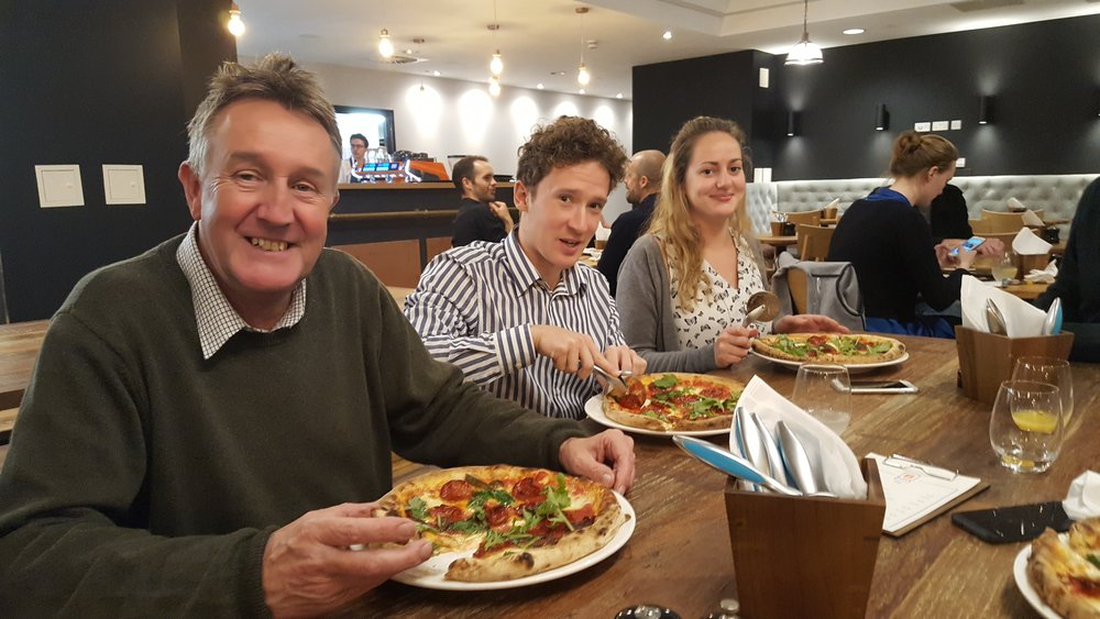 Jeremy Pilling, Bruce French and Esther Brown enjoying pizza at BBlock Restaurant at The Chocolate Quarter in Keynsham