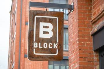 Signage for BBlock Restaurant at The Chocolate Quarter in Keynsham