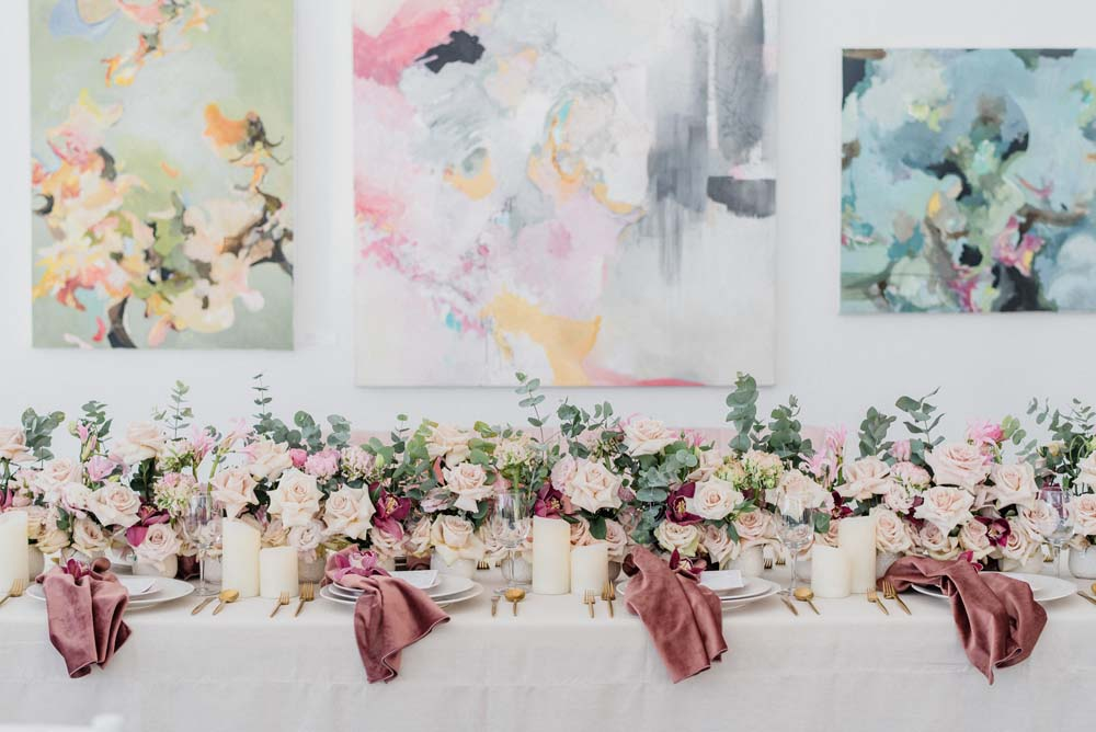 A Pink and Mauve Styled Shoot at the Art Gallery of Hamilton - Wedding Bells Magazine. Click for more images
