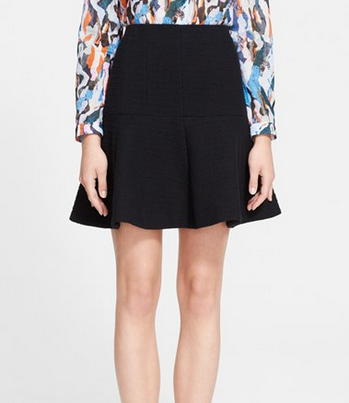 Carven Fancy Tweed Skirt black flared A line circle zip back