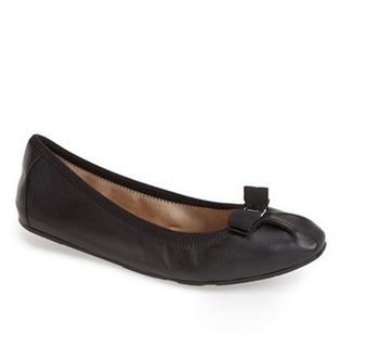 Salvatore Ferragamo 'My Joy' Flat (Women) black leather cute bow