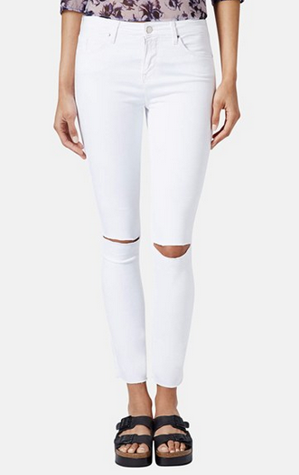 Topshop Moto 'Leigh' Distressed Skinny Jeans (White) (Regular, Short & Long) distressed