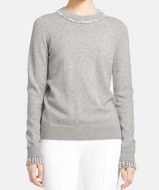 Michael Kors Jewel Embellished Cashmere Sweater light heather grey