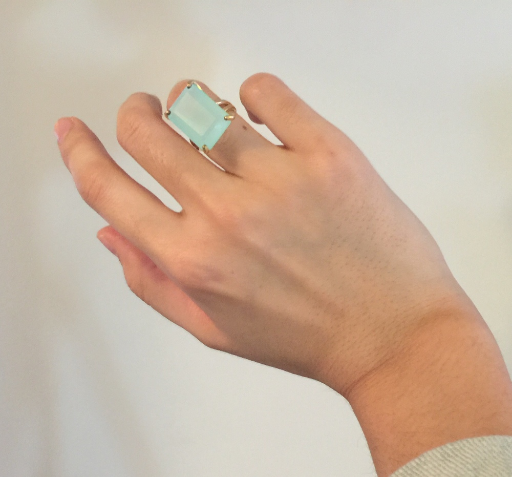 SPRING SALE 25% OFF - aqua Chalcedony ring,rectangle ring,silver ring,stone cocktail ring,silver gemstone ring,aqua ring