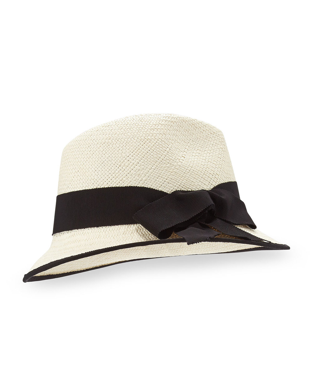 Inverni Straw Panama Hat, Natural/Black Inverni straw Panama hat. Contrast grosgrain ribbon trim with bow detail. Pinched crown. Partially downturn brim. Made in Italy.