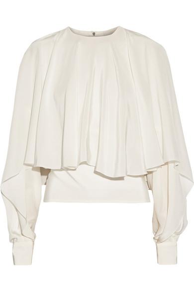 ANTONIO BERARDI Draped silk crepe de chine top bell sleeve