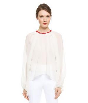 Giambattista Valli Lip Collar Silk Blouse bell sleeve