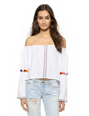 Pitusa Pom Pom Crop Top bell sleeve