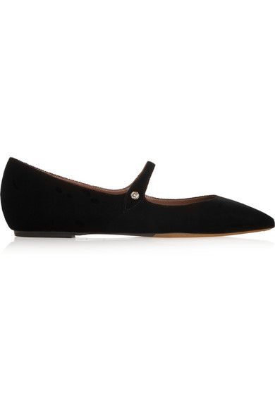 TABITHA SIMMONS Hermione velvet point-toe flats strap buckle